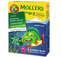 MÖLLER'S Omega-3 Fishes, Orange, 36 jeleuri