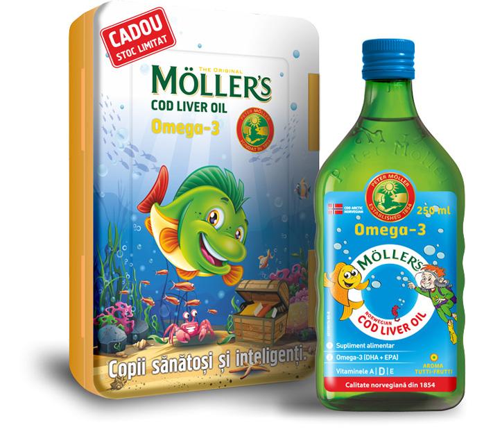 Moller's Cod liver oil Omega-3 aroma tutti frutti, 250 ml