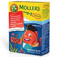 MÖLLER'S Omega-3 Fishes, Căpșuni, 36 jeleuri
